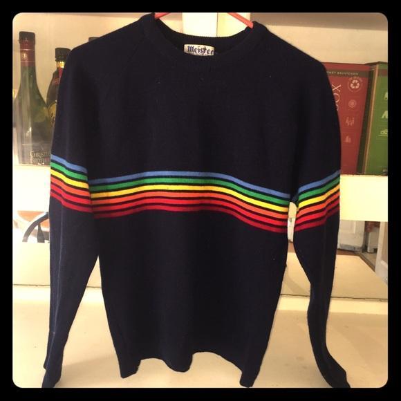 3608d93a Meister Sweaters | Rainbow Striped 70s Sweater 100 Wool | Poshmark